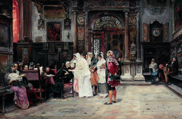 Wall Art - Painting - The Signing Of The Marriage Contract by Jose Gallegos y Arnosa