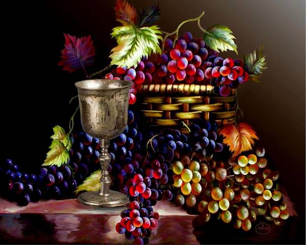 Bread And Wine Painting - The Silver Chalice by Ron Chambers