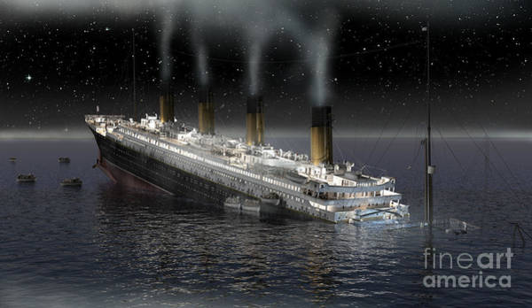 Shipwreck Digital Art - The Sinking Of The Rms Titanic by Florent Pey