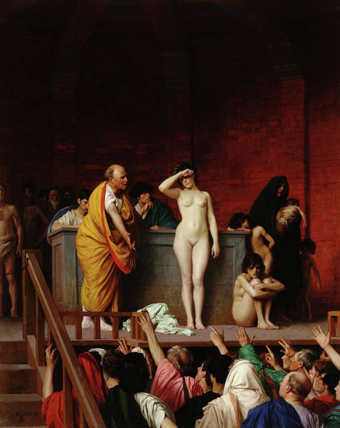 Wall Art - Painting - The Slave Market In Rome by Jean-Leon Gerome