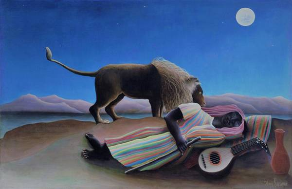 Wall Art - Painting - The Sleeping Gypsy - Original Bluecolor Edition by Henri Rousseau