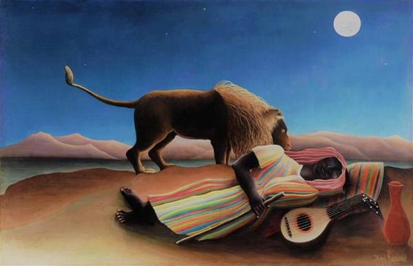Wall Art - Painting - The Sleeping Gypsy - Original Moonlight Edition by Henri Rousseau