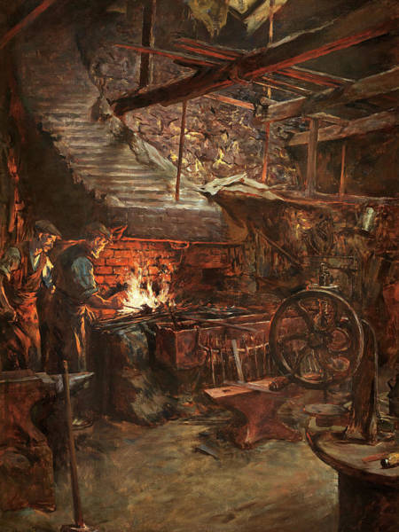 Newlyn Painting - The Smith's Workshop by Stanhope Alexander Forbes