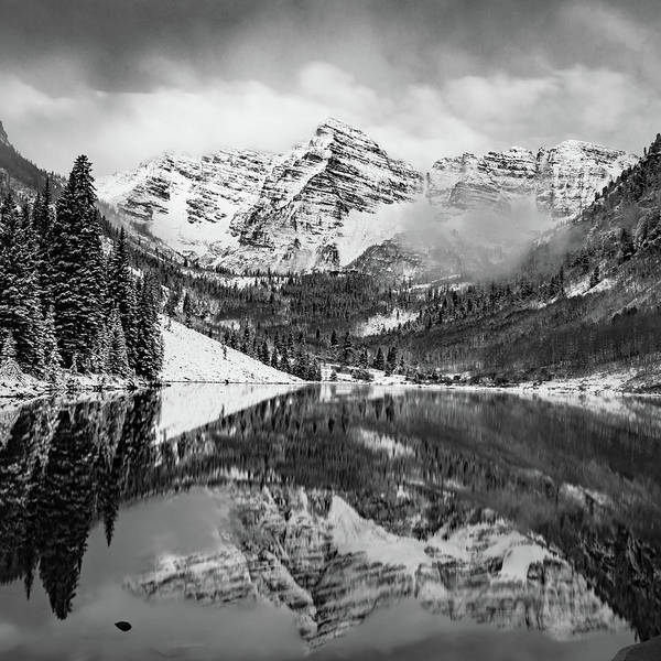 Photograph - The Smoky Maroon Bells - Aspen Colorado Monochrome by Gregory Ballos