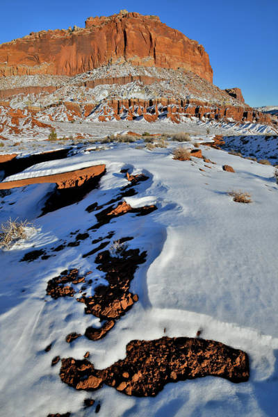 Photograph - The Snow Covered Cliffs Of Capitol Reef Np by Ray Mathis