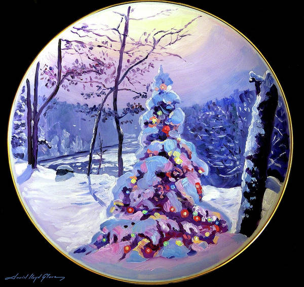 Painting - The Snowy Christmas Tree by David Lloyd Glover
