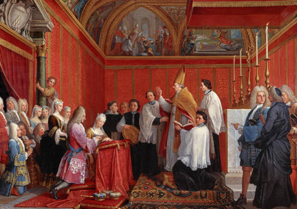 Church Of Scotland Wall Art - Painting - The Solemnisation Of The Marriage Of James IIi And Maria Clementina Sobieska, 1735 by Agostino Masucci