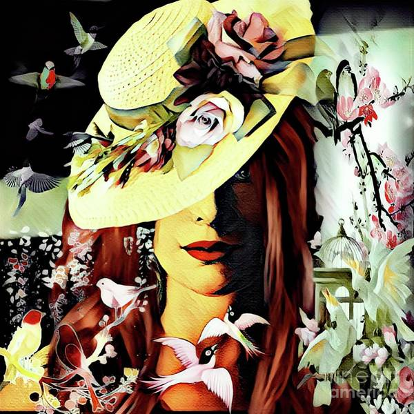 Digital Art - The Song Bird by Debra Lynch