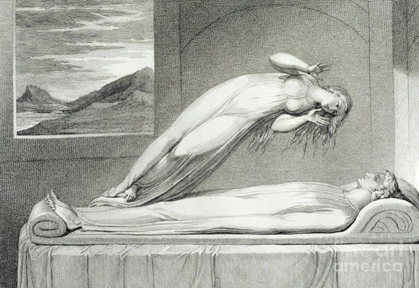 Wall Art - Drawing - The Soul Hovering Over The Body Reluctantly Parting With Life by William Blake