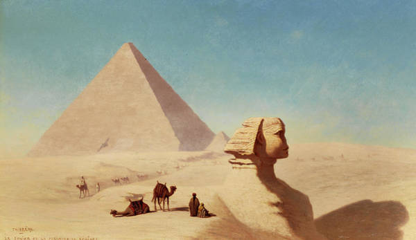 Wall Art - Painting - The Sphinx Of Giza With Cheops Pyramids by Theodore Frere