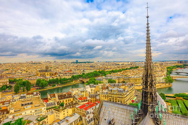 Photograph - the spire of Notre Dame cathedral by Benny Marty