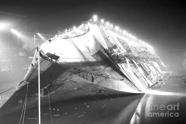 Photograph - The S.s. Normandie A French Ocean by New York Daily News Archive