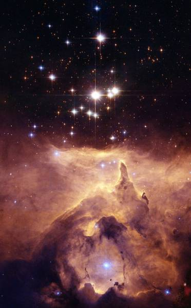 Wall Art - Painting - The Star Cluster Pismis 24 Lies In The Core Of The Large Emission Nebula Ngc 6357 by Celestial Images