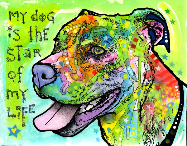 Pitbull Painting - The Star Of My Life by Dean Russo Art