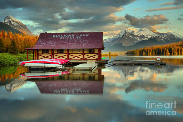 Photograph - The Start Of Sunset At Maligne Lake by Adam Jewell