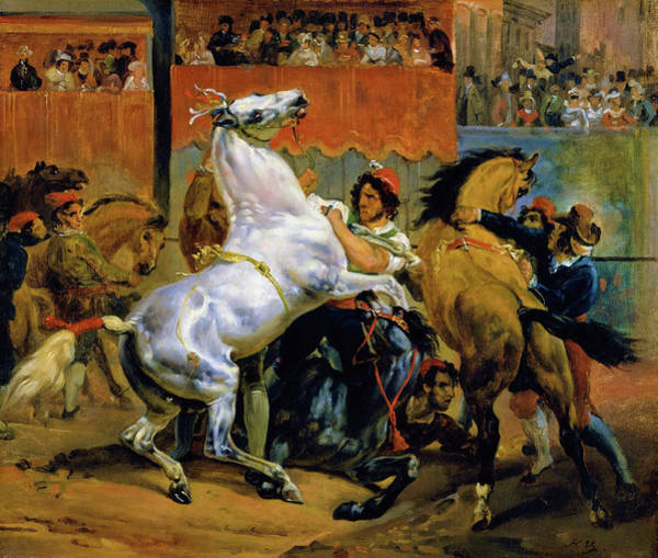 Wall Art - Painting - The Start Of The Race Of The Riderless Horses - Digital Remastered Edition by Horace Vernet