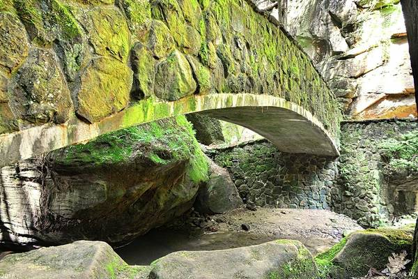 Photograph - The Stone Bridge In Old Mans Cave Hocking Hills Ohio by Lisa Wooten