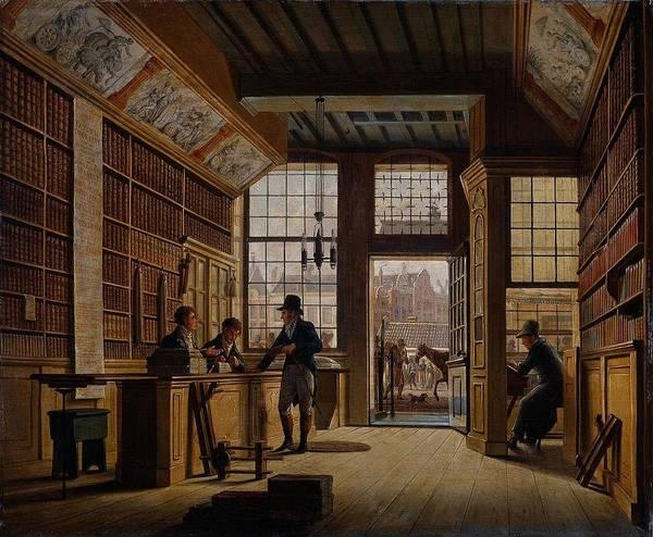 Meijer Painting - The Store Of Bookseller Pieter Meijer Warnars On The Vijgendam In Amsterdam The Bo  by Johannes Jelgerhuis