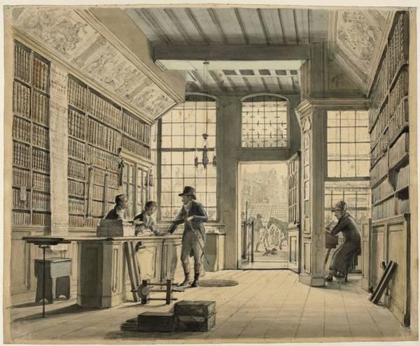 Meijer Painting - The Store Of The Bookseller Pieter Meijer Warnars On The Vijgendam In Amsterdam. by Johannes Jelgerhuis -1770-1836-