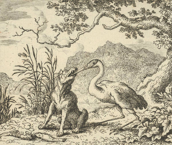 Relief - The Stork Removes A Bone From The Wolf's Throat by Allaert van Everdingen