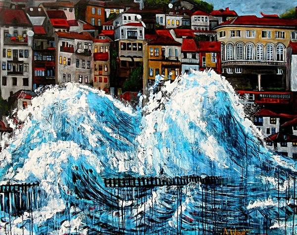 Tsunami Painting - The Storm- Large Work by Angie Wright
