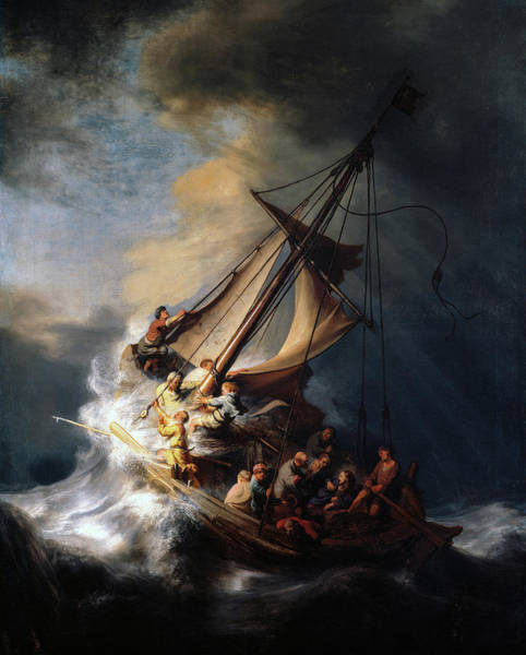Wall Art - Painting - The Storm On The Sea Of Galilee, Miracle Of Jesus, 1633 by Rembrandt