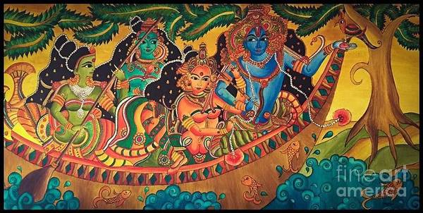 Wall Art - Painting - The Story Of Boat Sail - Temple Mural Painting by Anakha Nair