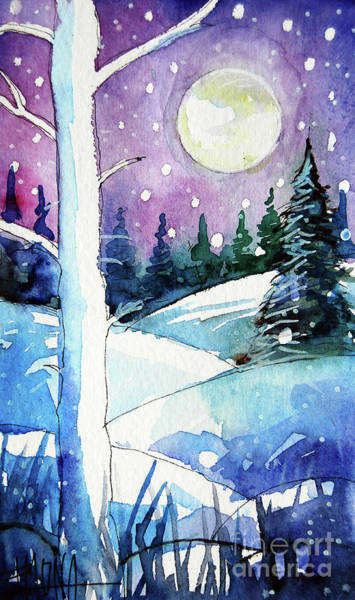 Aurora Borealis Painting - The Story Of The White Tree - Winterscape Watercolor - Mona Edulesco by Mona Edulesco