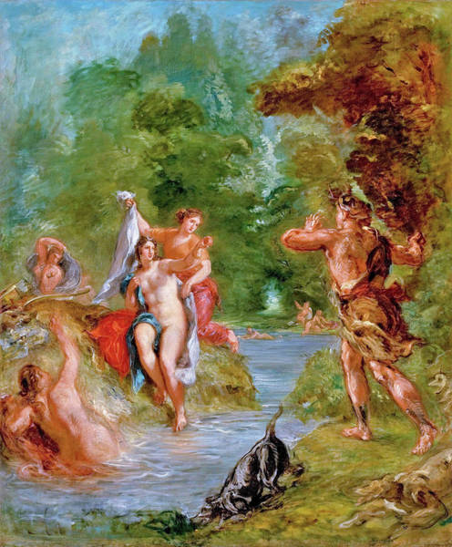 Wall Art - Painting - The Summer - Diana Surprised By Actaeon - Digital Remastered Edition by Eugene Delacroix