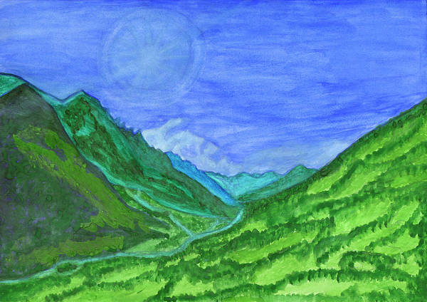 Painting - The Sun Is Hidden Behind The Clouds In A Green Valley by Irina Dobrotsvet