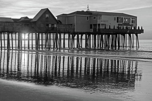 Wall Art - Photograph - The Sun Rises On The Old Orchard Beach Maine Pier Black And White by Toby McGuire