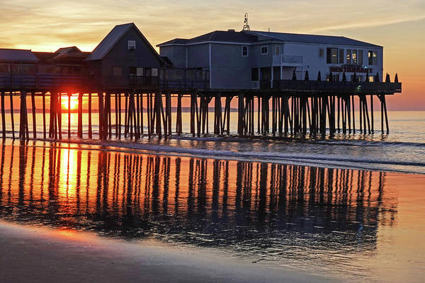 Wall Art - Photograph - The Sun Rises On The Old Orchard Beach Maine Pier by Toby McGuire