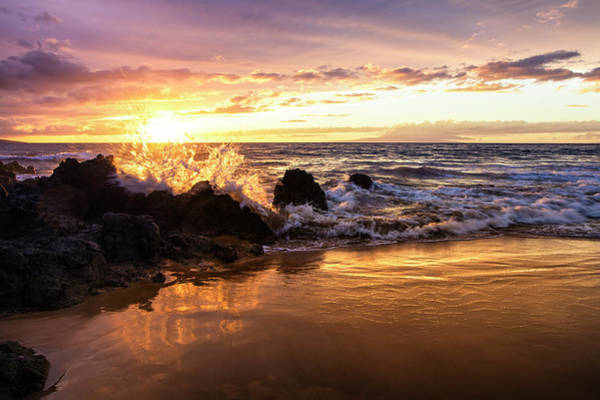 Wall Art - Photograph - The Sun Sets With An Ocean Splash by Jenna Szerlag