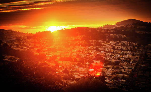 Wall Art - Photograph - The Sunset Over Panoramic San Francisco Hills With His Wooden Wh by Kim Vermaat