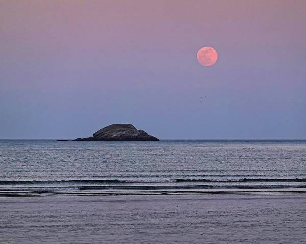 Photograph - The Super Worm Moon 2019 Over Egg Rock In Nahant Ma by Toby McGuire