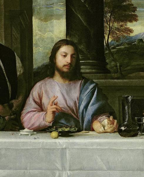 Bread And Wine Painting - The Supper At Emmaus, Circa 1535 by Titian