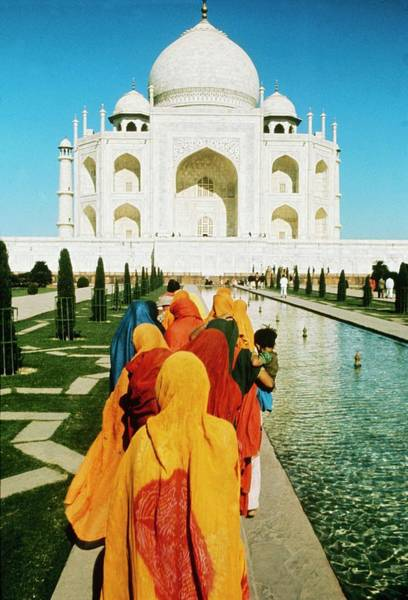 Taj Mahal Photograph - The Taj Mahal With Women Pilgrim With by Keystone-france