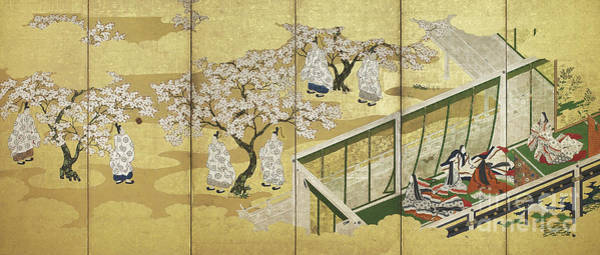 Wall Art - Painting - The Tale Of Genji, Chapter 34 Kashiwagi Catches Sight Of The Third Princess, Edo Period by Tosa Mitsuoki
