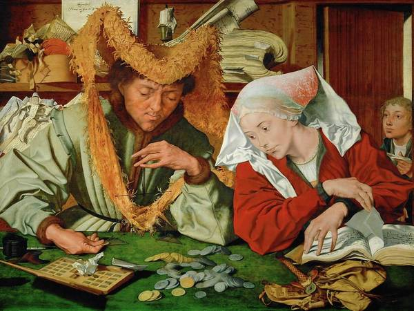 Payment Painting - The Tax Collector And His Wife. 1540 Inv. 314. by Marinus van Reymerswaele -c 1490-c 1546-
