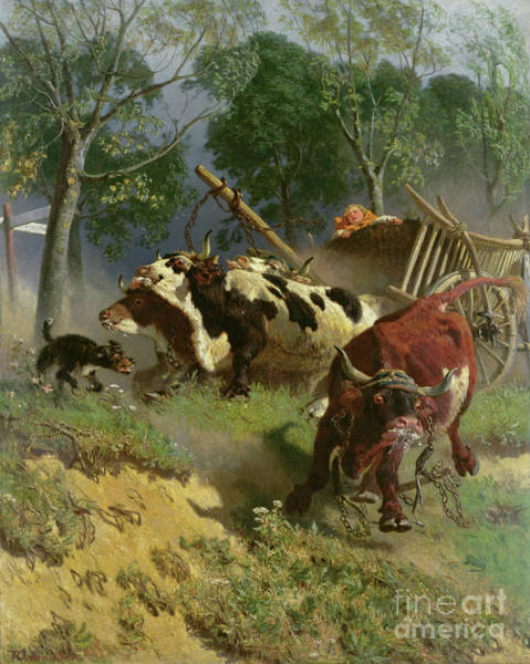 Foaming Wall Art - Painting - The Team Of Oxen Breaks Loose  by Teutwart Schmitson