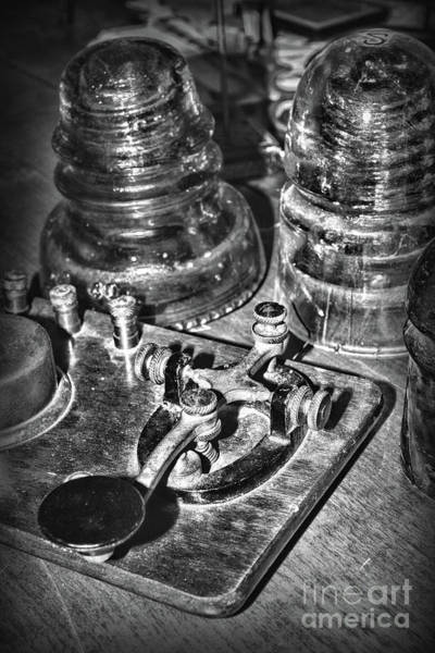 Wall Art - Photograph - The Telegraph And Glass Insulators Black And White by Paul Ward