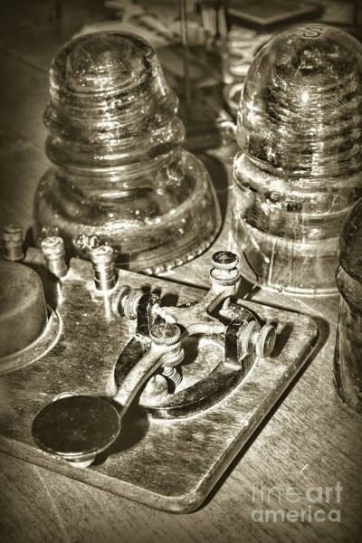 Wall Art - Photograph - The Telegraph And Glass Insulators Sepia by Paul Ward