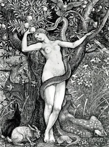 Satan Drawing - The Tempation Of Eve by Walter Crane