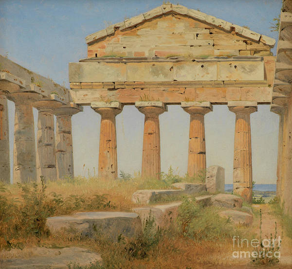 Wall Art - Painting - The Temple Of Athena In Paestum, 1838 by Constantin Hansen