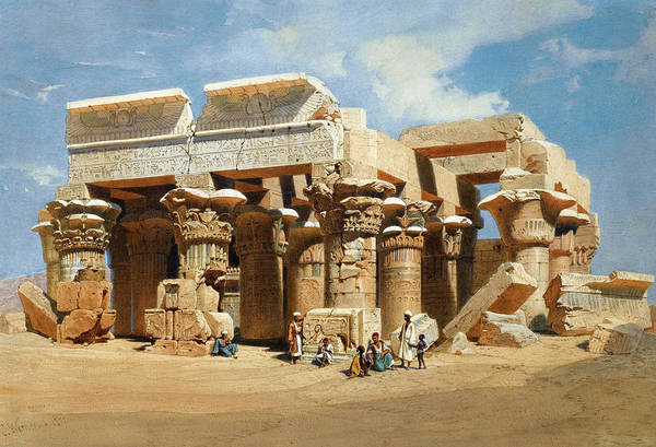 Philae Painting - The Temple Of Kom Ombo, Egypt by Carl Werner