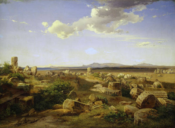 Collapse Painting - The Temple Ruins Of Selinunte by August Bromeis