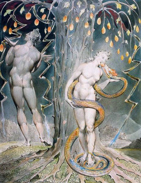 Wall Art - Painting - The Temptation And Fall Of Eve - Digital Remastered Edition by William Blake