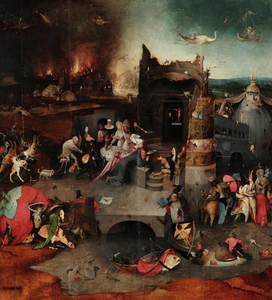 Wall Art - Painting - The Temptations Of St Anthony, Central Panel, 15th Century by Jheronymus Bosch