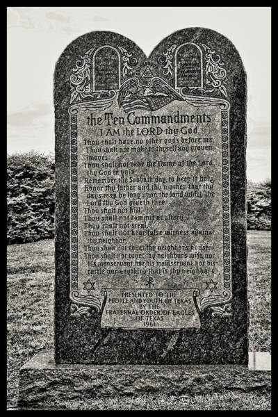 Wall Art - Photograph - The Ten Commandments - Texas State Capitol Grounds by Allen Beatty