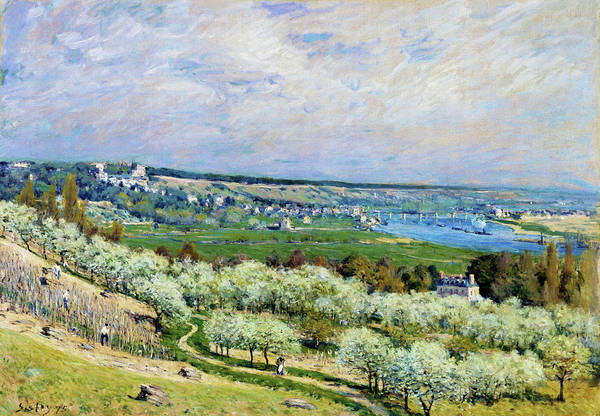 Riverbed Painting - The Terrace At Saint - Digital Remastered Edition by Alfred Sisley